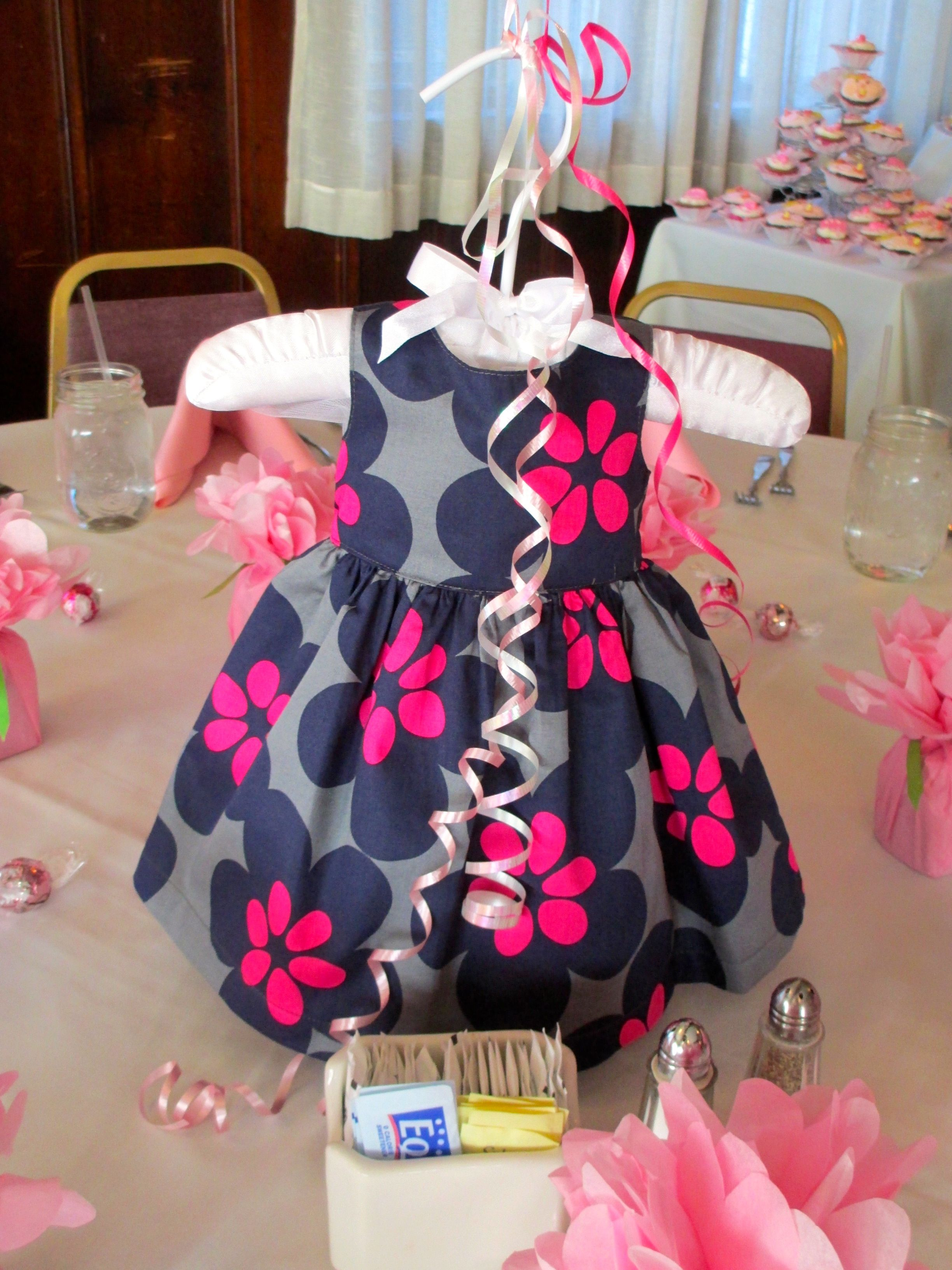 23cb62073 Baby shower dress centerpiece. So cute if it s another girl.