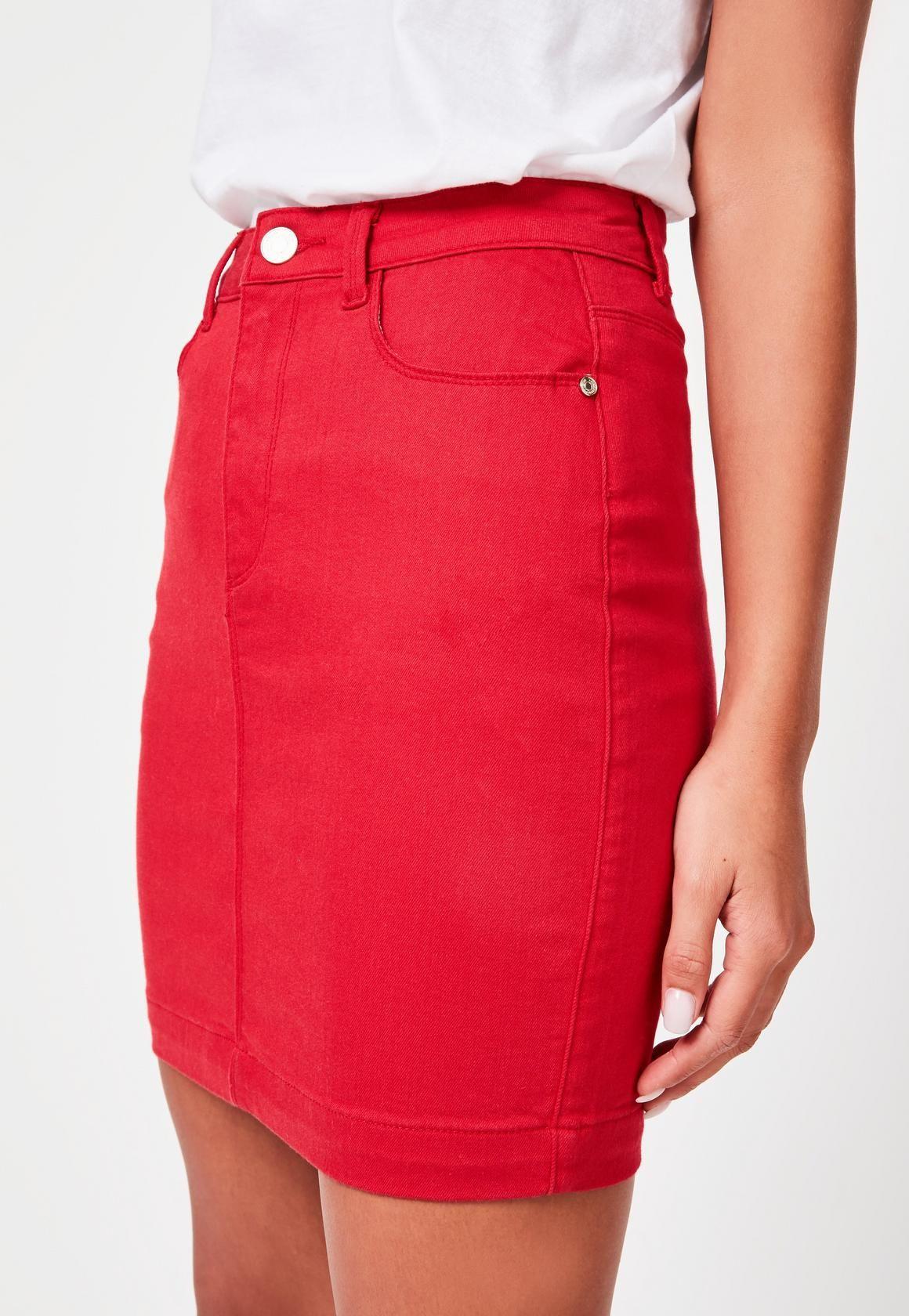 1403d9872bad81 Red Denim Super Stretch Mini Skirt | mOdE euh ... | Mini skirts ...