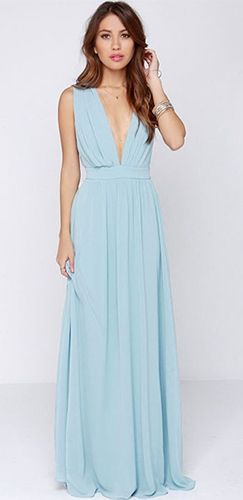 3f85c2c96f Light Blue Sleeveless Plunge V Neck Pleated Loose Cut Out Back Maxi Dress  Gown