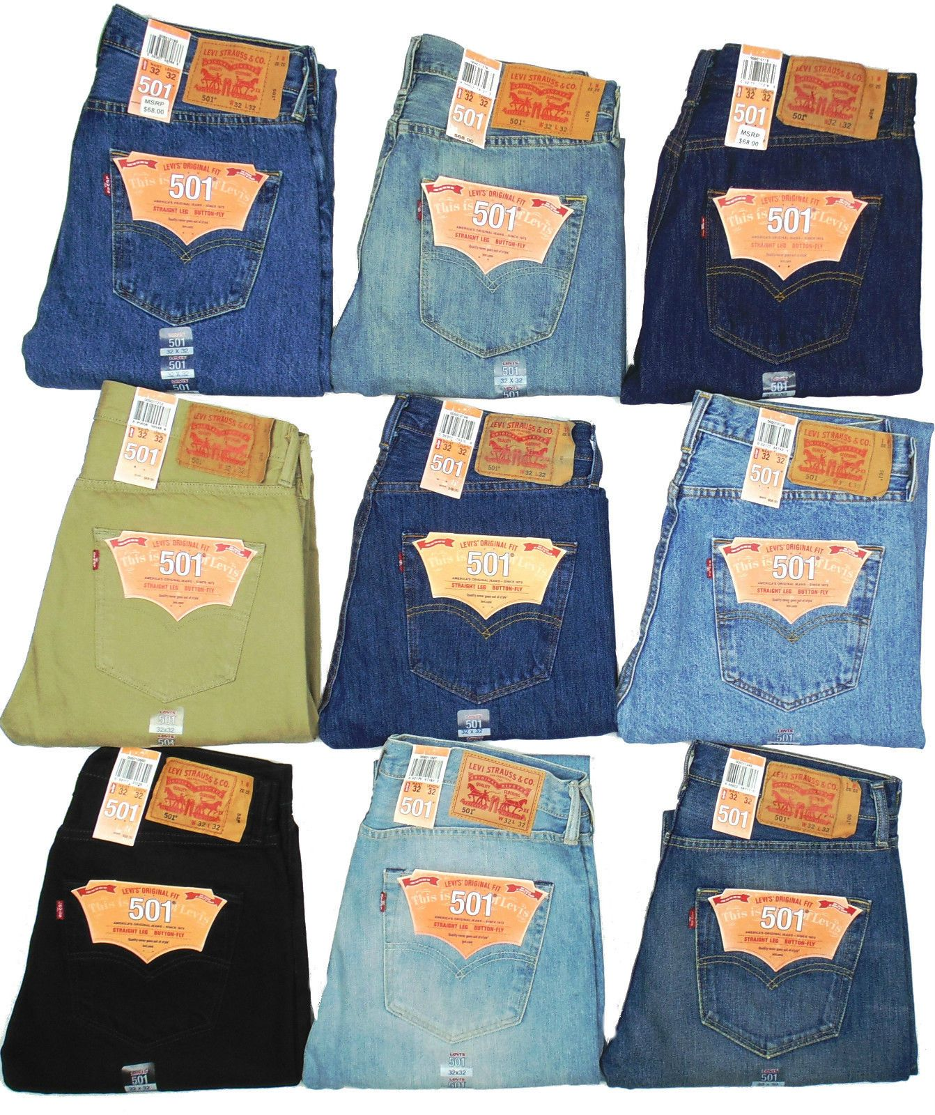 Levis 501 Jeans Button Fly Mens Authentic Many Sizes Many Colors New With  Tags!!  e95209a0eed