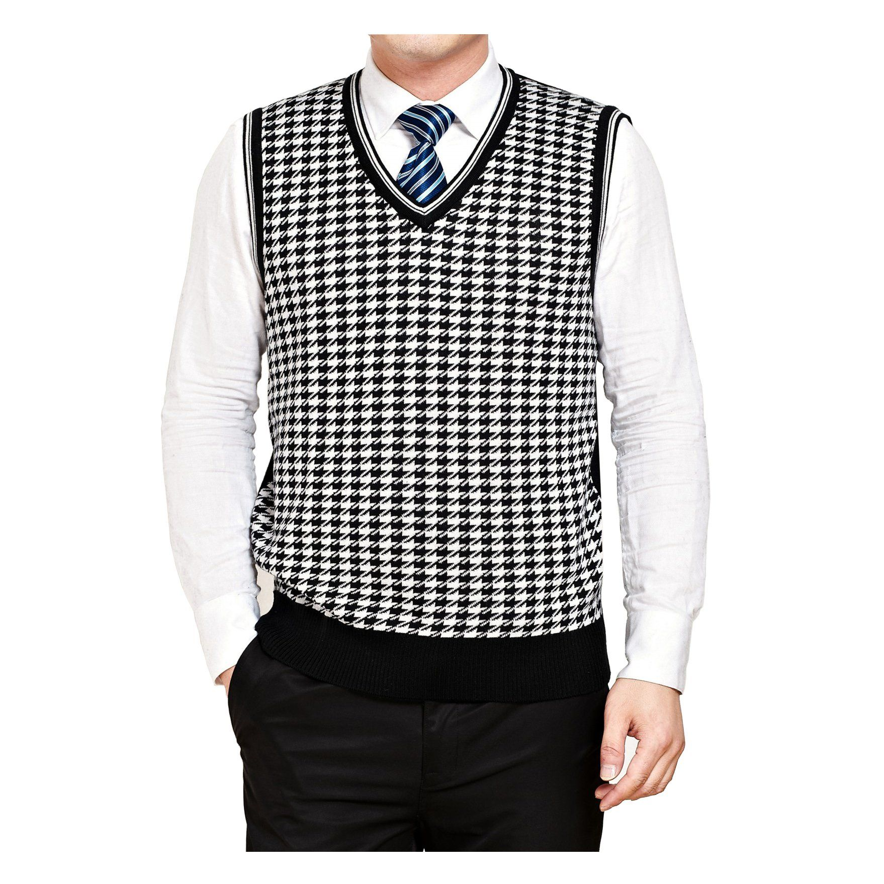 G-LIFE Men Classic Houndstooth Pullover V-Neck Fit Sweater Vest (M ...