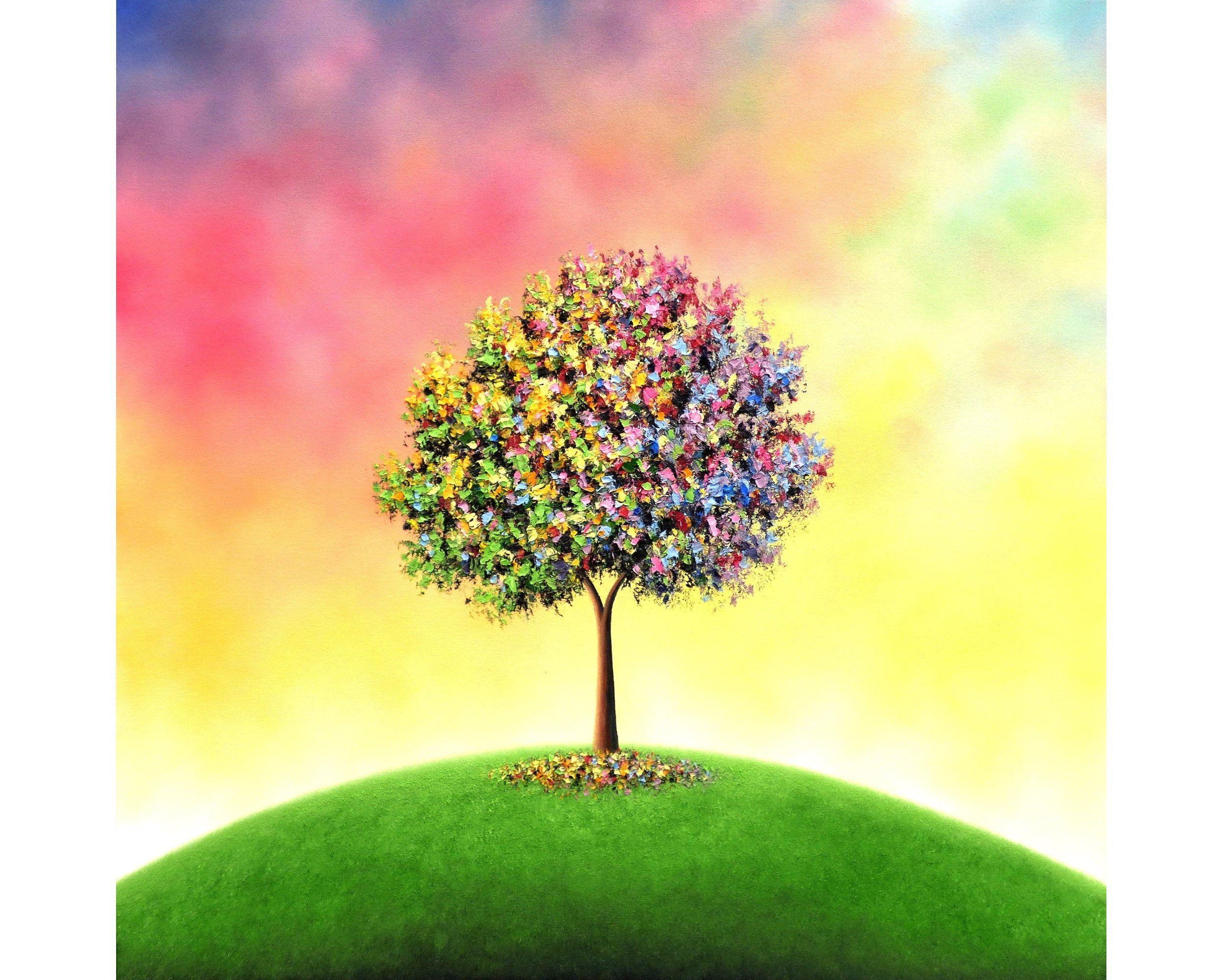 Rainbow Tree Painting Whimsical Tree Art Textured Original Oil