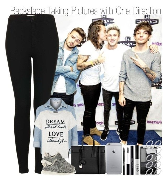 """""""Backstage Taking Pictures with One Direction"""" by elise-22 ❤ liked on Polyvore featuring Topshop, Yves Saint Laurent, adidas, Stila, shu uemura, NARS Cosmetics, Wet n Wild and ASOS"""