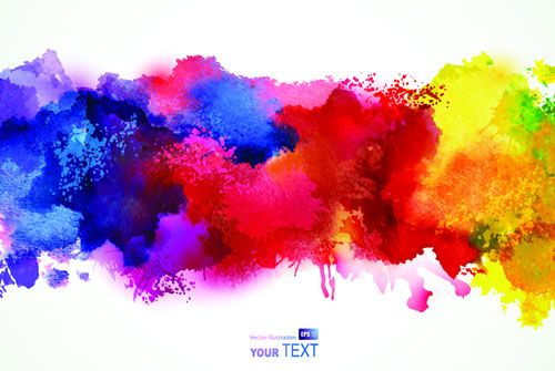 Free Lovely Vector Watercolor Paint Smudges Watercolor Splash