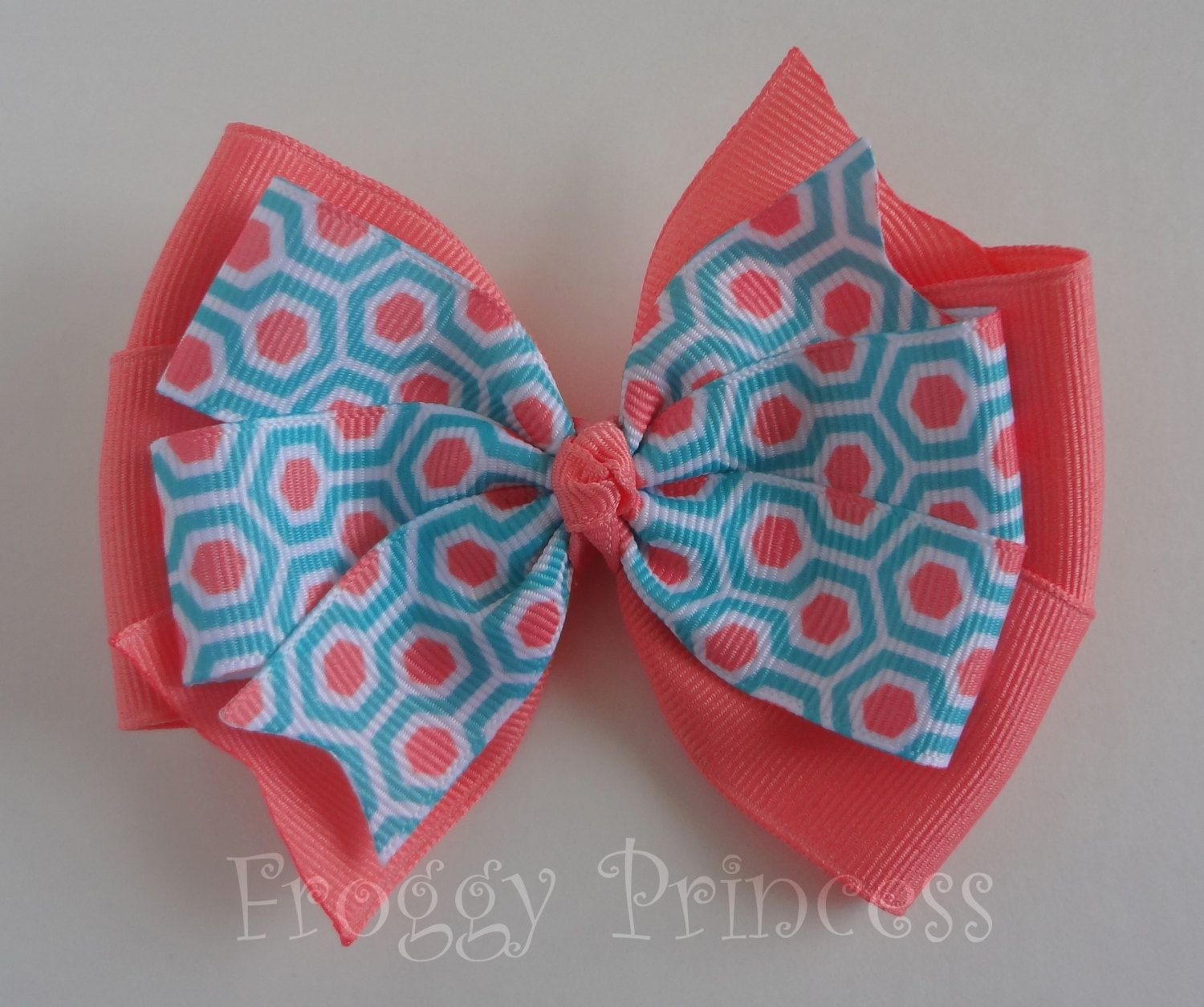 Aqua Coral Bow - Honeycomb Double Pinwheel - No Slip Velvet Grip Hair Clip by FroggyPrincess on Etsy