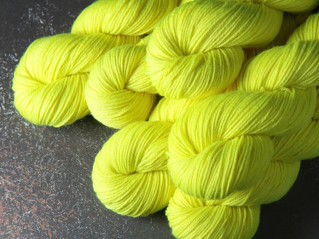 Dynamite DK hand-dyed superwash British pure wool yarn 100g – 'Health and Safety Gone Mad' (neon yellow) » It's a Stitch Up