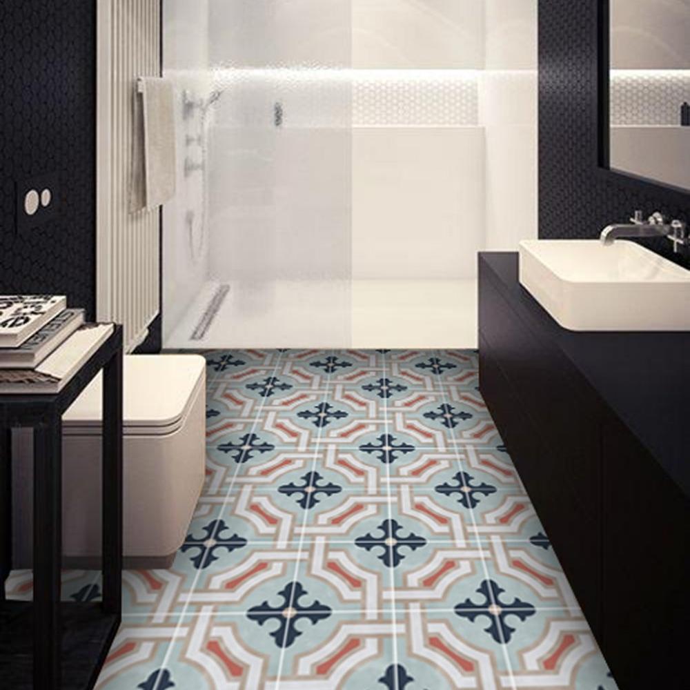 Sale Vinyl Floor Tile Sticker Panel Of 60 X 120 Cm Size Traliccio In Chalk Blue Vinyl Flooring Flooring Floor Decal