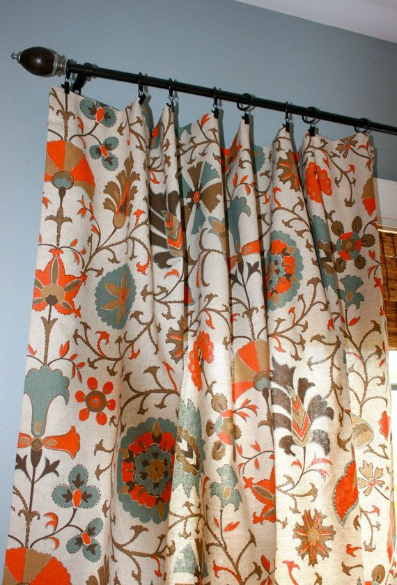 Circle Curtain Panels In Orange And Blue Suzani Designer Curtain Panel Oatmeal By Stitchandbrush On Etsy Home Curtains Curtain Designs Orange Curtains