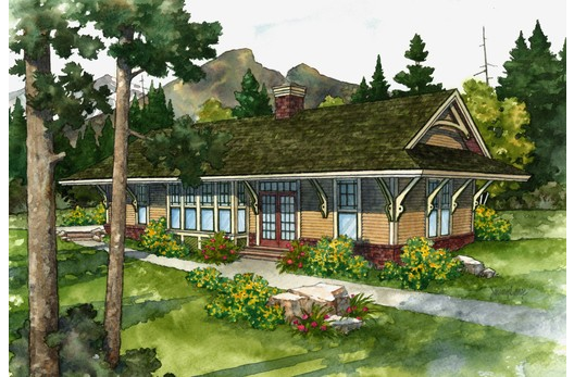 Station House ~ 1078 sq ft small house based on a Train ... on warehouse house plans, school house plans, hotel house plans, mill house plans, bank house plans, round barn house plans, library house plans, colonial house house plans, lookout tower house plans, hunting lodge house plans, church house plans,