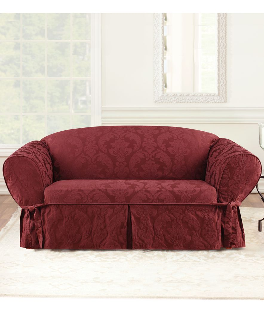 Sure Fit Matelasse Damask 1 Piece Loveseat Slipcover Slipcovers For The Home Macy S Loveseat Slipcovers Slipcovers Slipcovers For Chairs