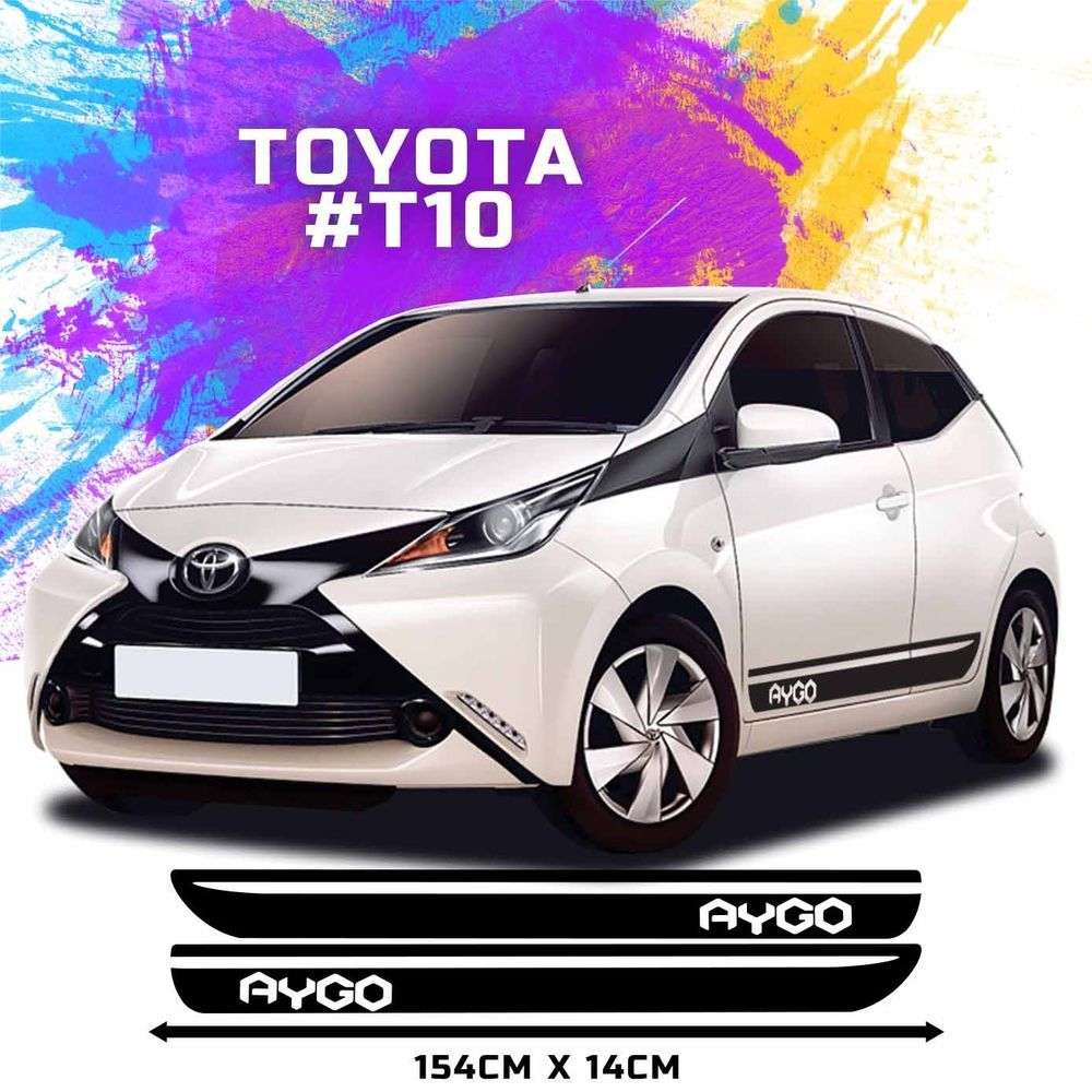 fits toyota aygo side racing stripes decal graphics. Black Bedroom Furniture Sets. Home Design Ideas