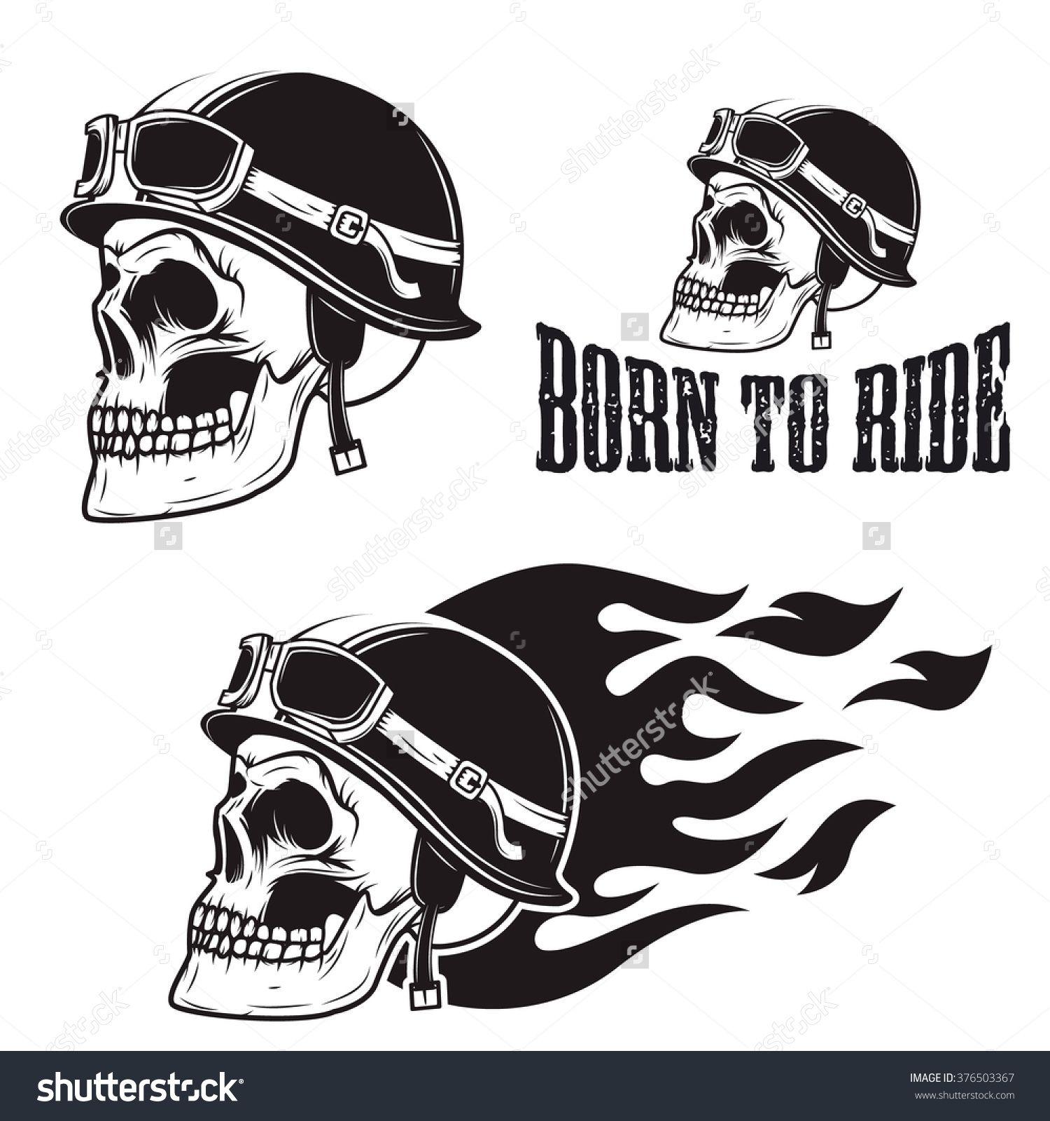 Skull In Motorcycle Helmet With Fire Born To Ride Retro Vector Design Graphic Element Emblem Logo Insignia Biker Tattoos Biker Art Print Design Template