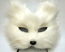 white fox mask feather mask/ White Cat face/ fox / half face, eye mask                                                                                                                                                                                 More