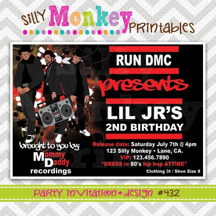 432: DIY - RUN DMC Hip Hop Party Invitation Or Thank You Card ...