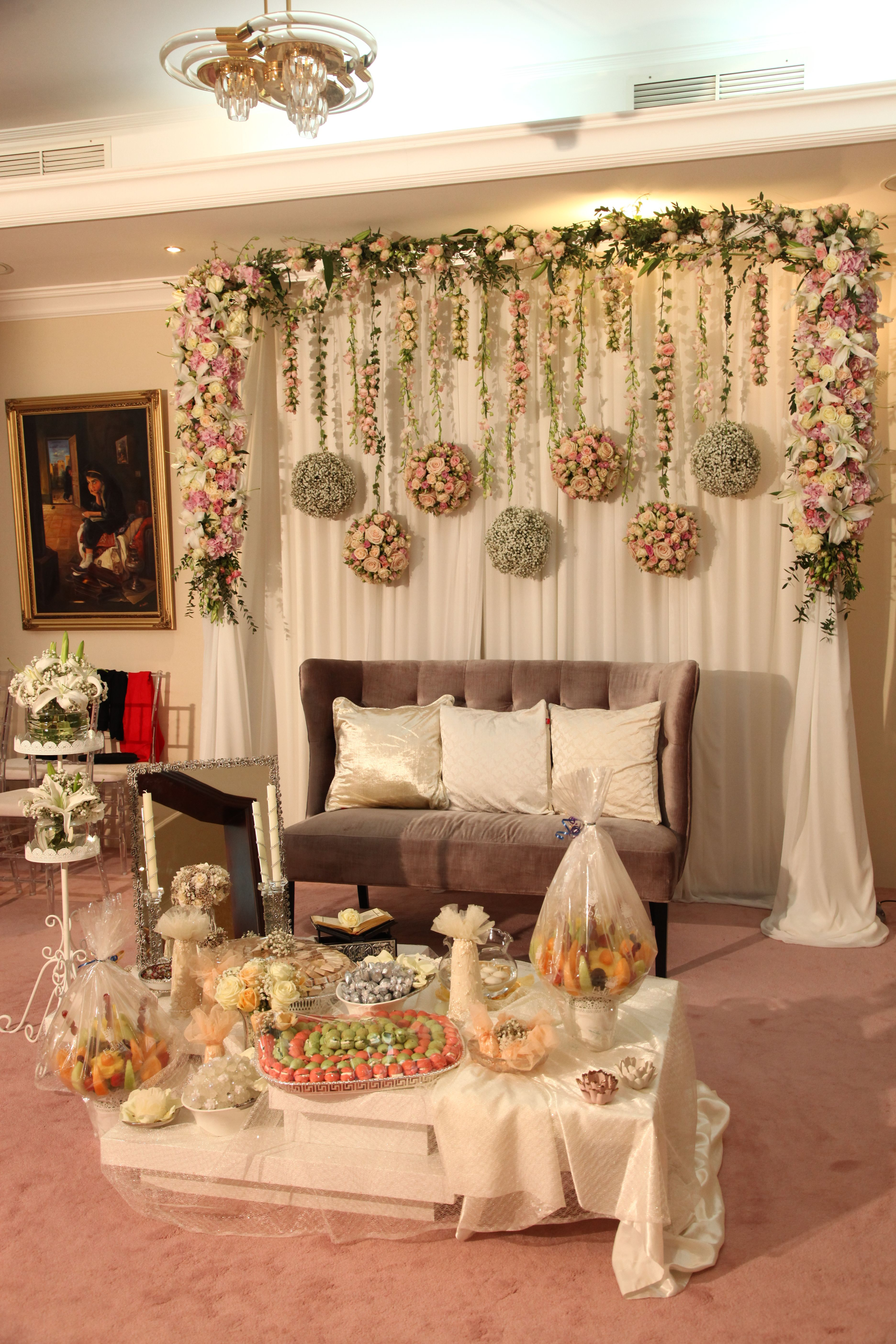 Small cosy engagement in a house sofra aghd backdrop Wedding decoration house