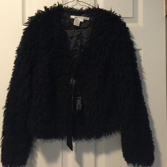 Black Max studios size small jacket Max studios jacket size small. This is a great statement piece over a dress . It has a ribbon tie in front and looks great over a little black dress. It's very soft and fully lined. Max Studio Jackets & Coats Capes