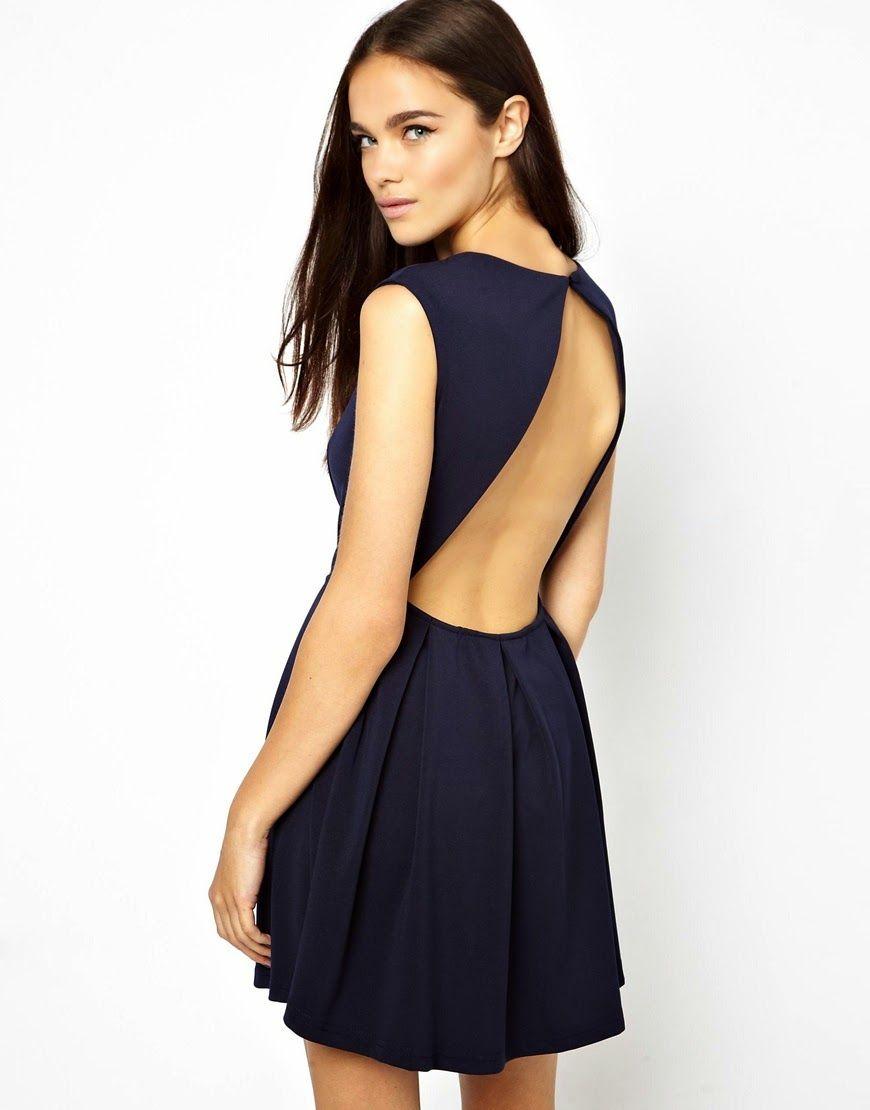 Vestido corto azul espalda descubierta