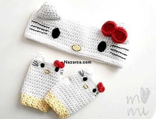 KIZLARA AMİGURUMİ HAYVANLI SAÇ BANDI VE ELDİVENLERİ #crochetedheadbands