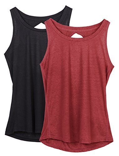74b45efb8e681 icyzone Yoga Tops Activewear Workout Clothes Open Back Fitness Racerback Tank  Tops For Women(S