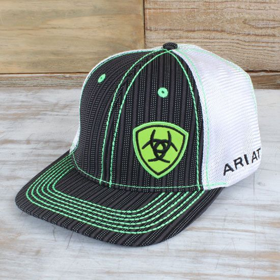 c8fdf0463e2d53 The Ariat Lime Green Stripe Cap features lime green threading that will  make you stand out.