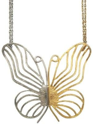 Two Tone Butterfly Pendant Necklace NBNB - Polyvore