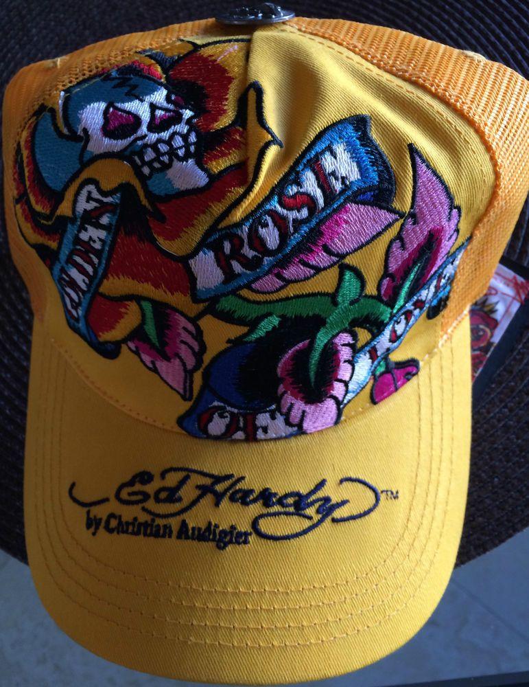 Hat Ed Hardy By Christian Audigier Hat Yellow New without tags   EdHardyChristianAudigier  Trucker 435c14c0fa7