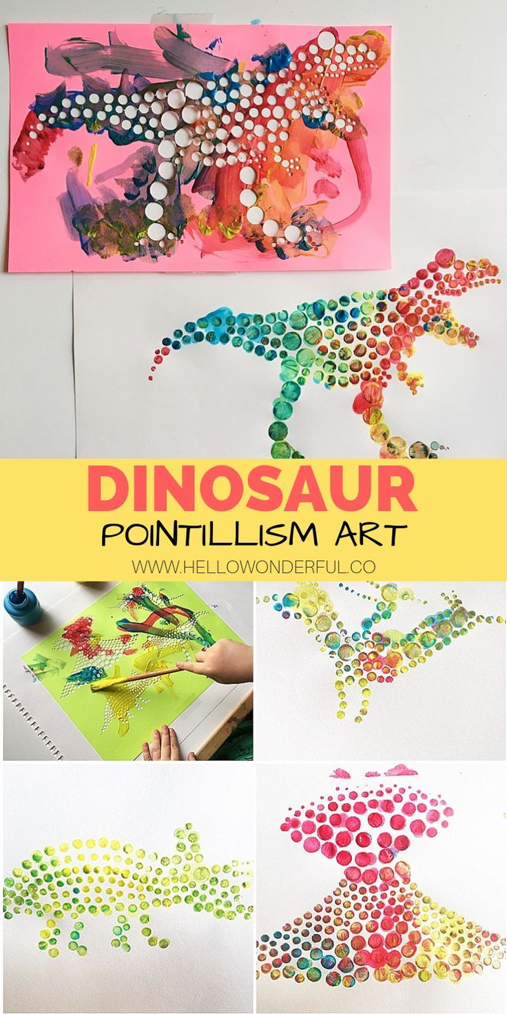 Dinosaur Pointillism Art Home Education Art Craft Videos