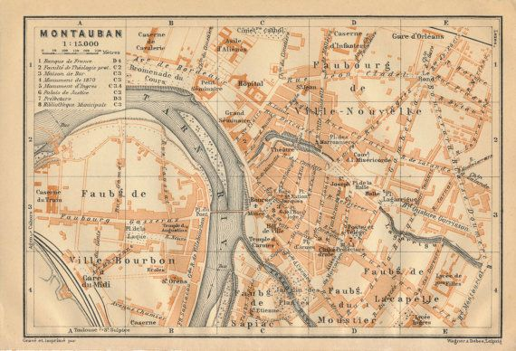 1914 Antique Map of Montauban France Antique maps and France