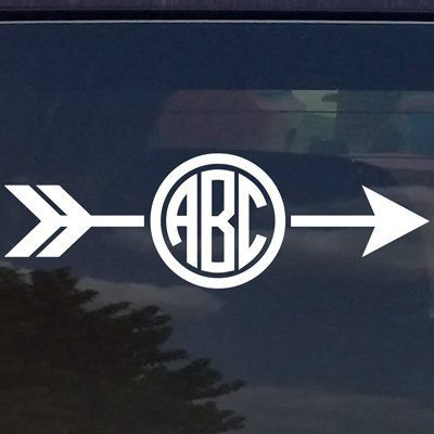 CUSTOM ARROW CIRCLE MONOGRAM INITIALS VINYL DECAL / BUMPER STICKER FOR CARS  YETI CUP LAPTOP (