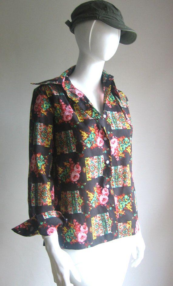 70s vtg blouse flower art noveau by BABILOVINTAGE on Etsy