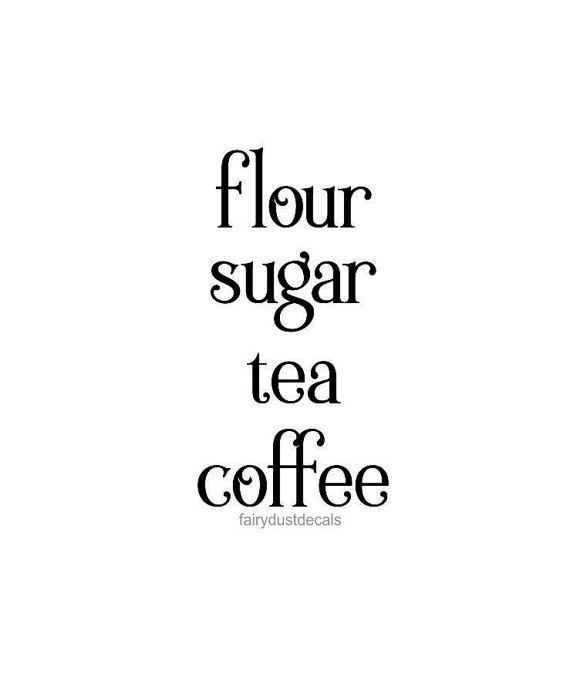Kitchen Decals, Canister Decal Set, Flour Sugar Coffee Tea, Vinyl Letters  For Kitchen