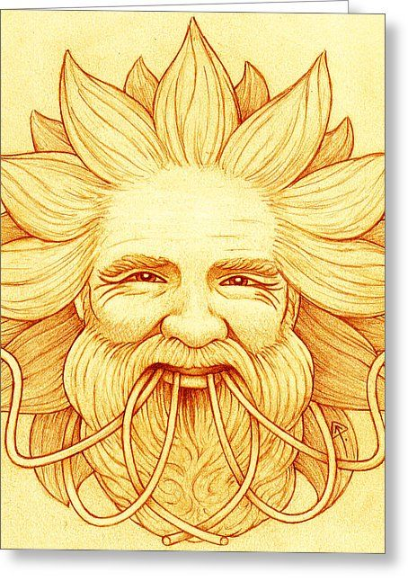 Ogma Sun-faced Greeting Card by Yuri Leitch