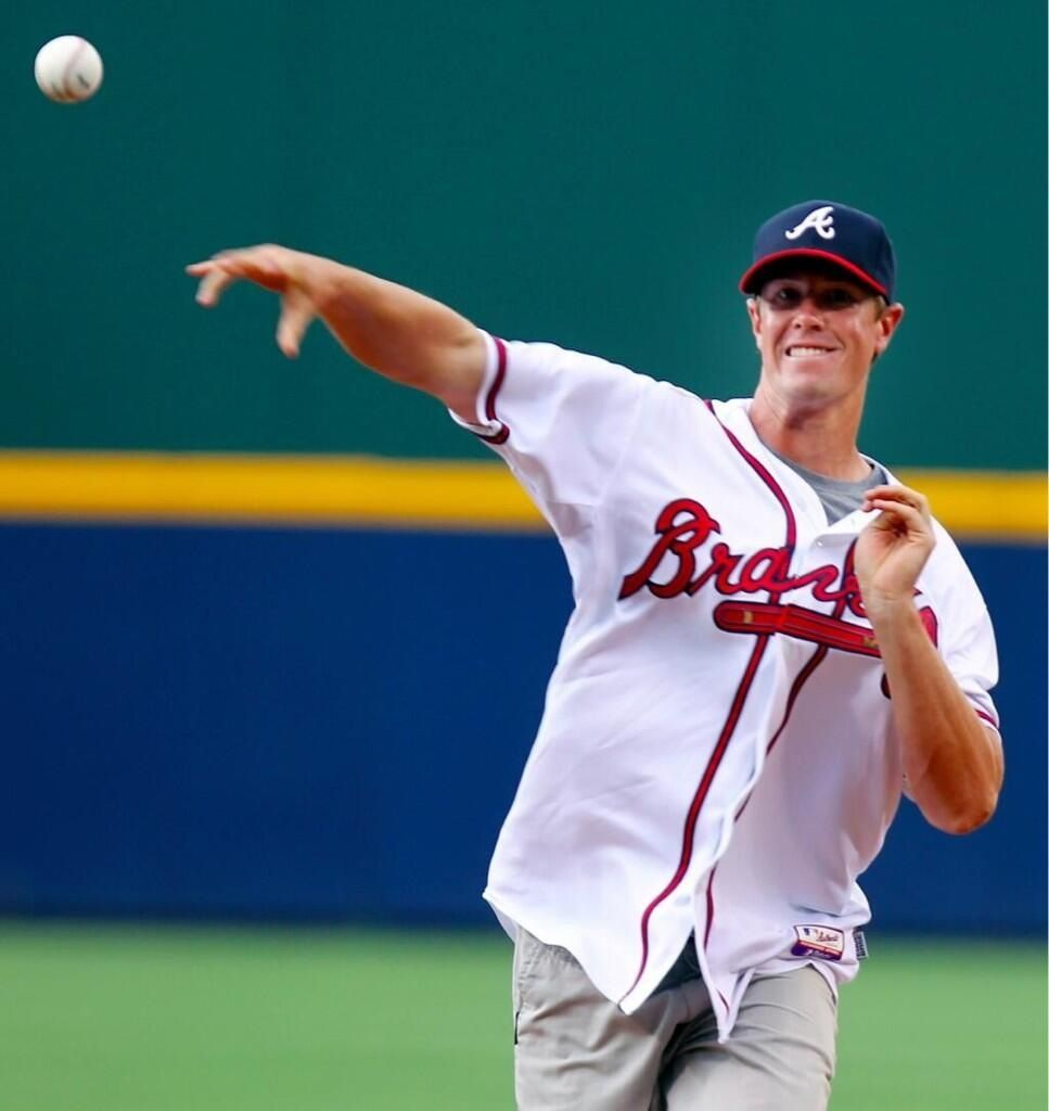 Matt Ryan Throwing Out The First Pitch For Opening Day At Turner Field Atlanta Falcons Atlanta Falcons Football Atlanta Falcons Memes