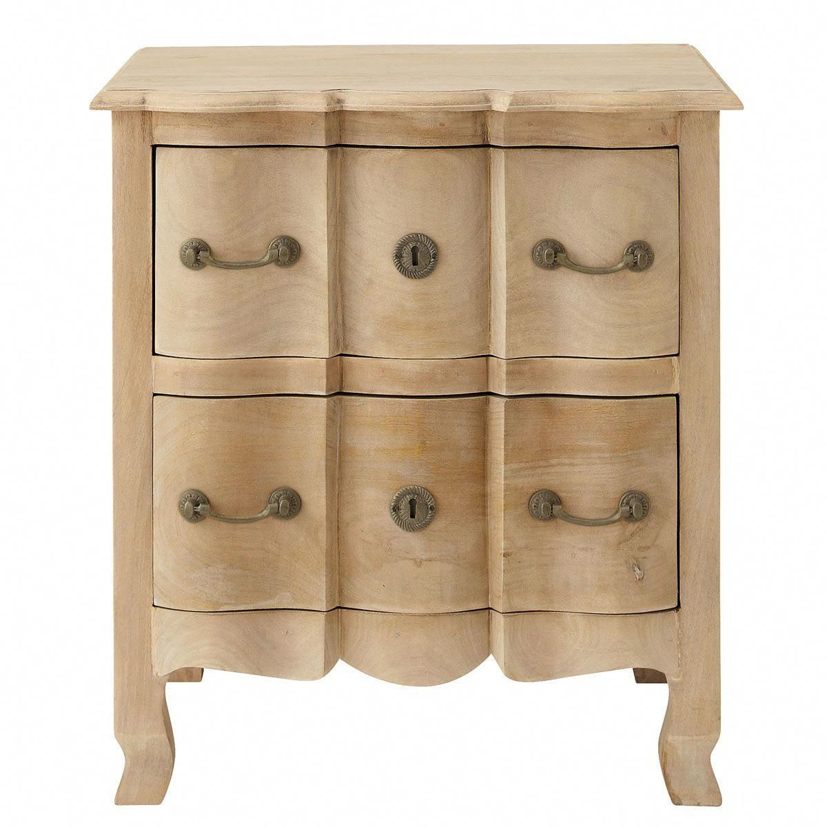 Mango Wood And Acacia Bedside Table With Drawers In 2019