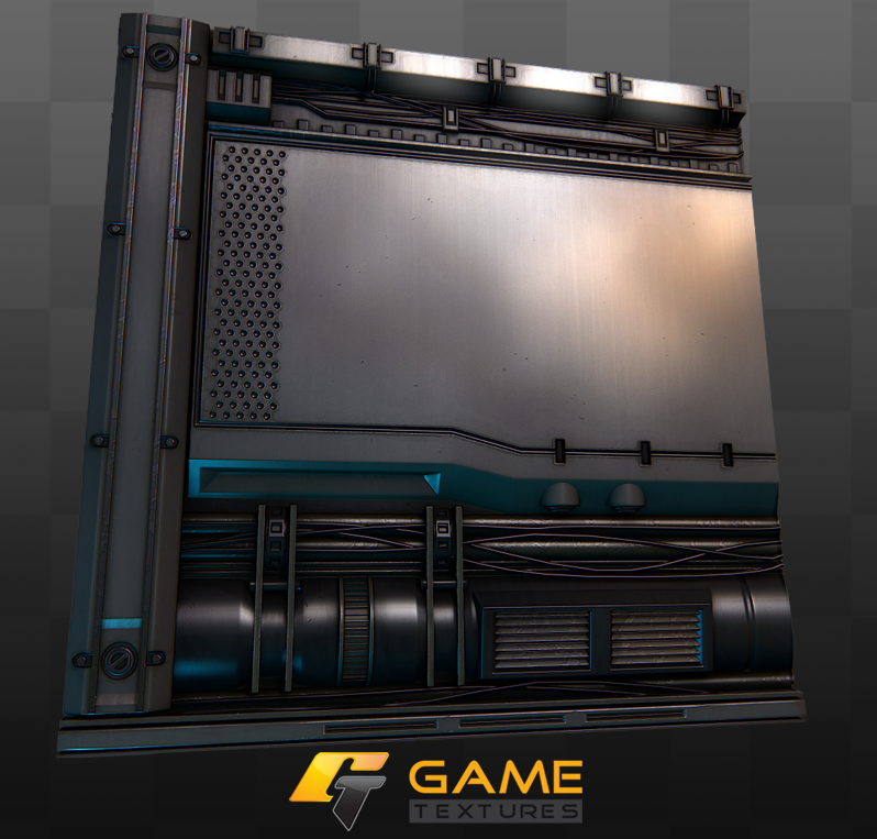 A sci-fi wall texture by Javier Perez @ gametextures.com