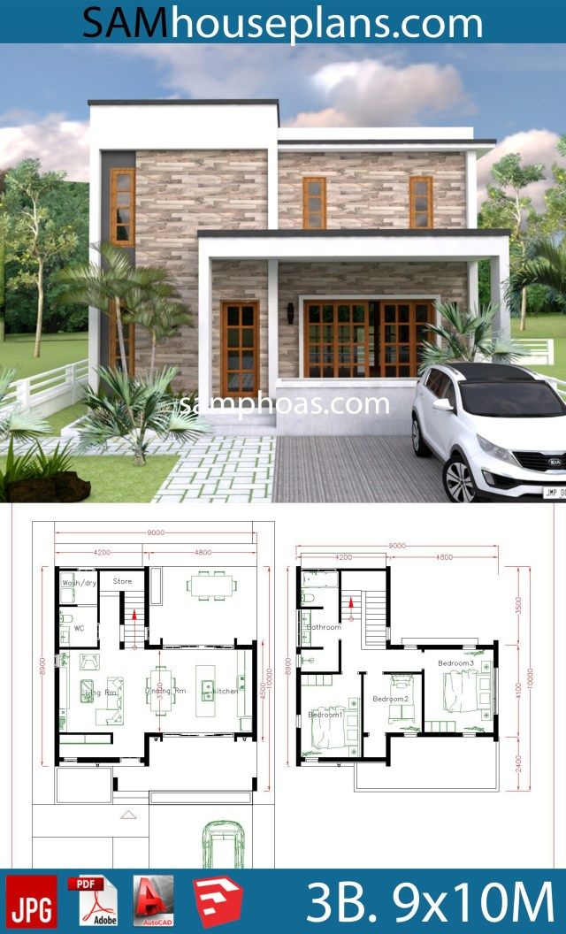 3 Bedrooms House Plans 9x10m Sam House Plans Architectural House Plans House Plans Simple House Plans