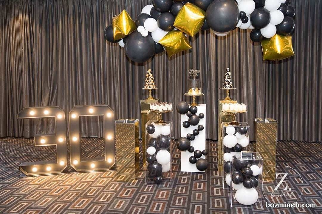 دکوراسیون و بادکنک آرایی شیک جشن تولد سی سالگی با تم مشکی طلایی Ceiling Lights Decor Home Decor