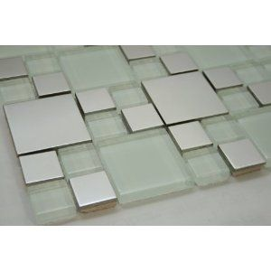 French series versaille pattern silver stainless steel metal and glass mosaic tile also square   white