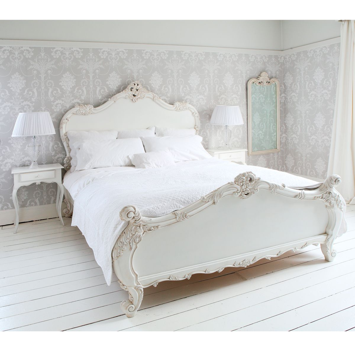 provencal sassy white french bed (double) | french bed, bed