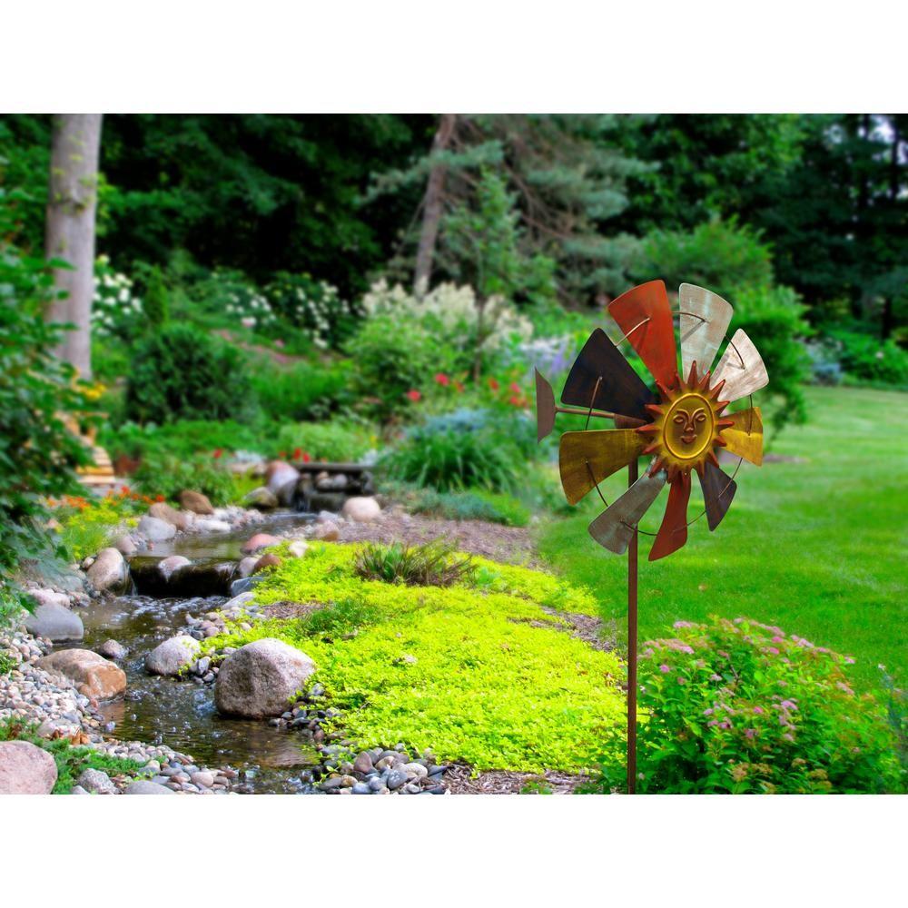 Dancing Sunflower Garden Stake Windmill Stands 7 Feet High.