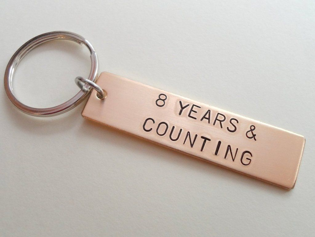 8 year anniversary gift bronze tag keychain engraved w