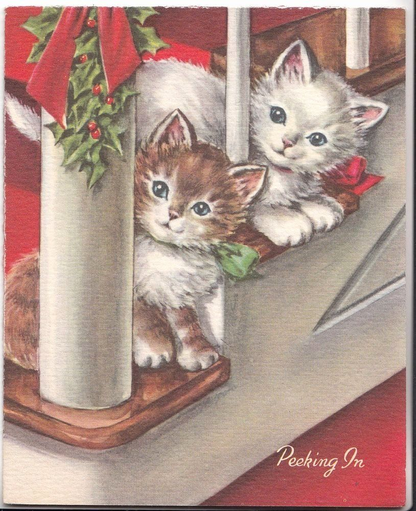 Cat Christmas Card Luxury Sweet Kitty Cats Watch From Stairs For Santa Claus Vintage Christmas Card Images Vintage Christmas Greeting Cards Christmas Cards