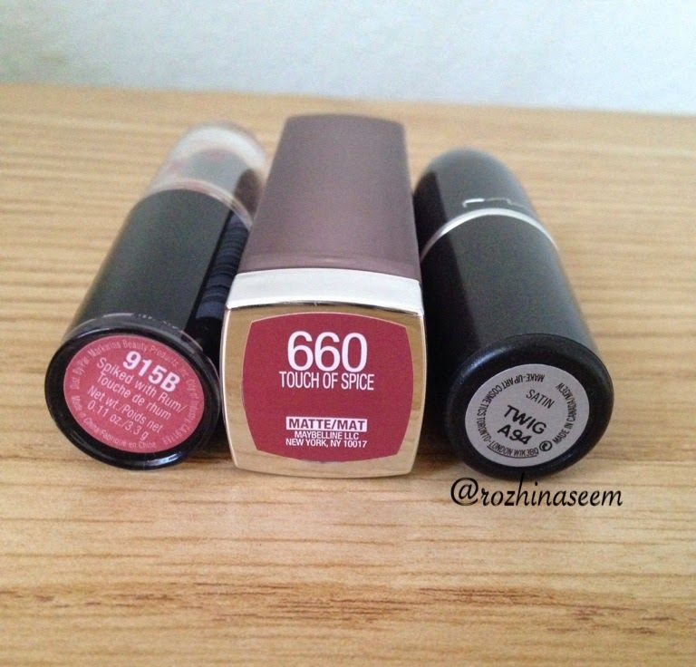 left to right; Wet n Wild 915B Spiked with Rum, Maybelline 660 ...