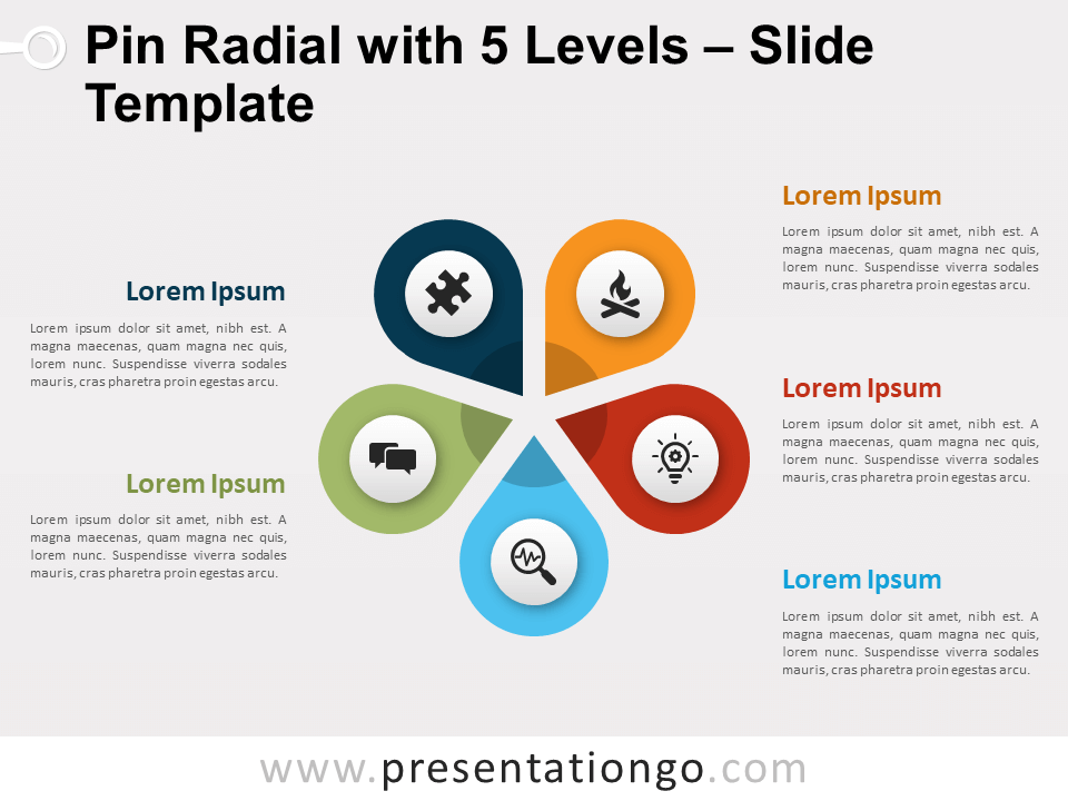 Pin Radial With 5 Levels For Powerpoint And Google Slides Powerpoint Powerpoint Slide Designs Powerpoint Design