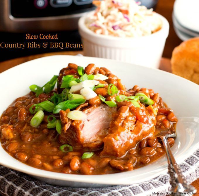 Crock Pot Country Style Pork Ribs Recipe: Easy Slow Cooked Country Ribs And Barbecue Beans