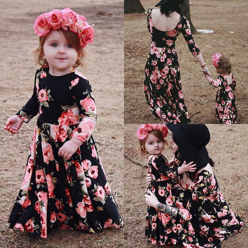 Family Matching Dress Mother And Daughter Floral Maxi Long Dress Casual Clothes