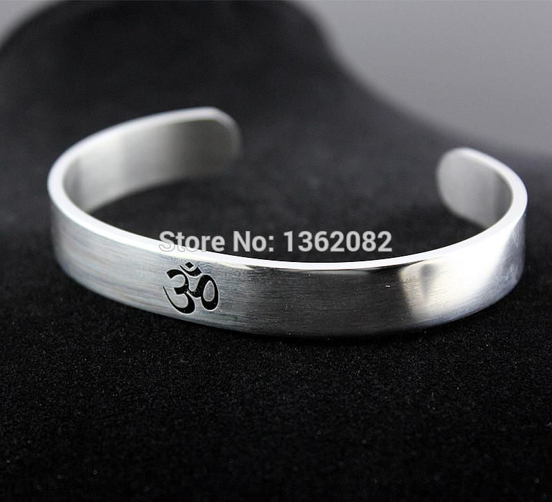 8dc3196f83f5fd Cool Men Women's Silver Tone AUM OM Ohm Hindu Buddhist Hinduism Yoga India  Stainless Steel Cuff