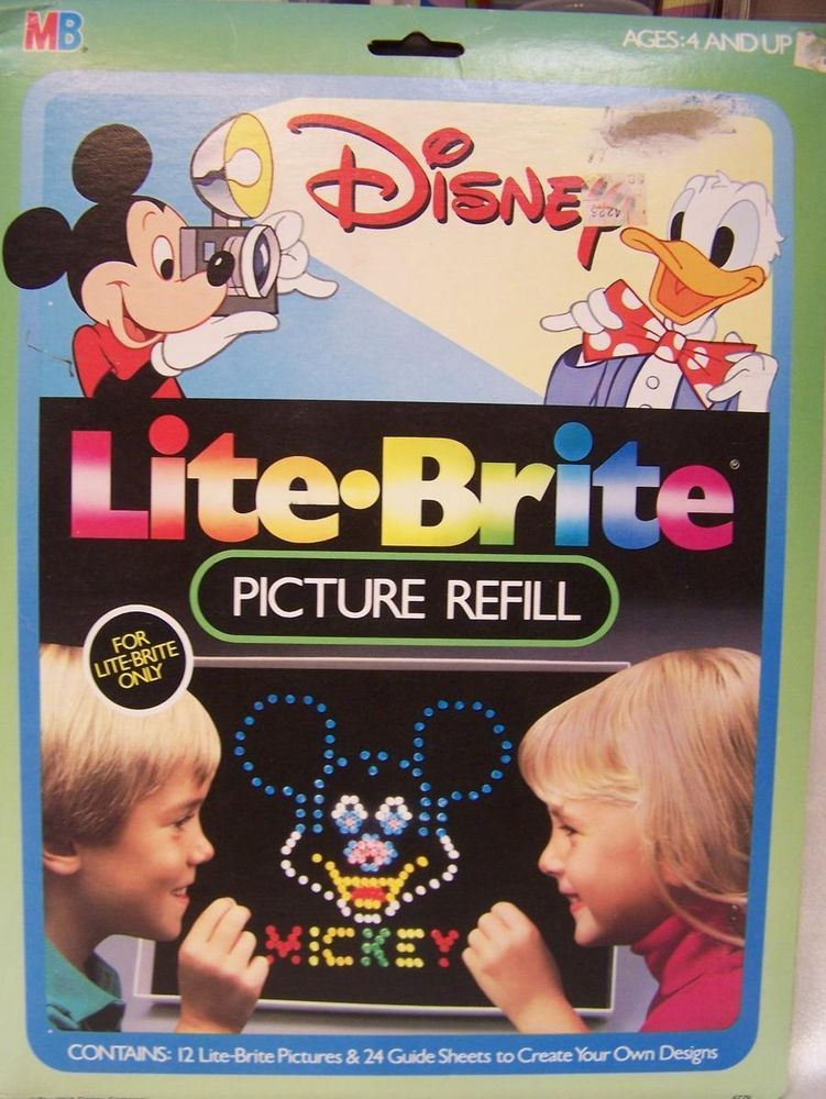 vintage mb hasbro disney lite brite picture refill sheets mickey minnie mouse hasbro