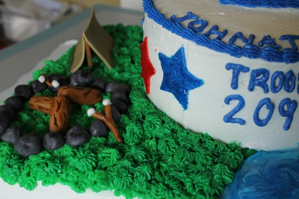 Boyscout Cake with Gumpaste Fireplace and Tent