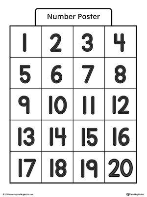Number Poster 1-20 | Numbers preschool, Writing numbers ...